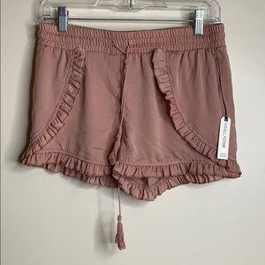 Vanilla Star   Light Pink Ruffled Polyester Shorts